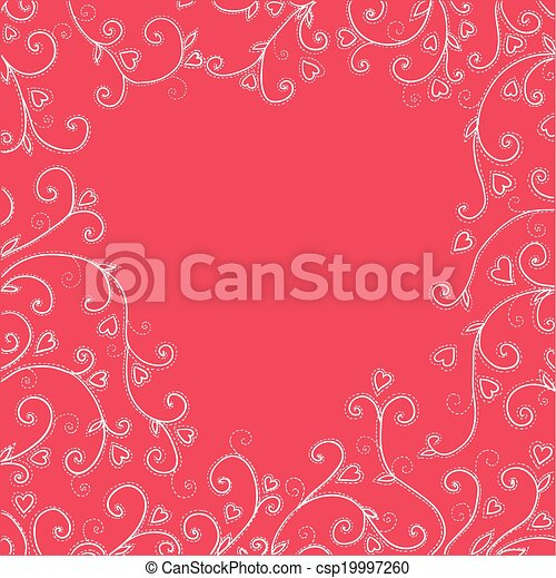Vintage red background with hearts. - csp19997260