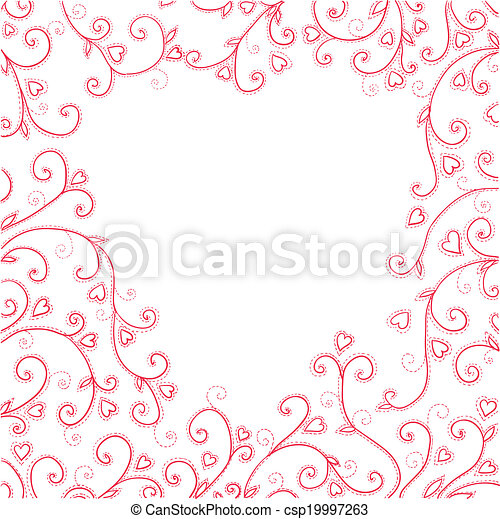 Vintage red background with hearts. - csp19997263