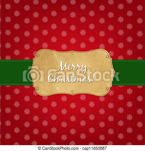 Vintage Red Merry Christmas Label - csp11650887