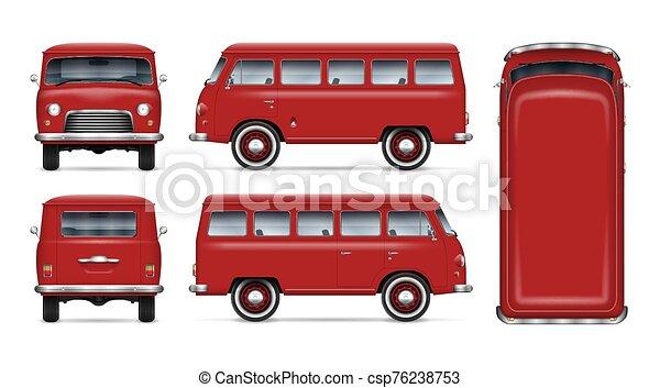 Vintage red minibus vector mockup - csp76238753