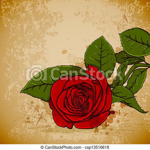 Vintage red rose - csp13516618