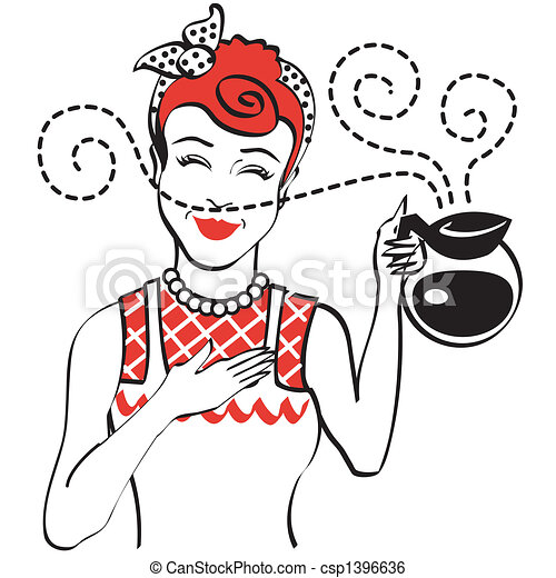 Vintage Retro 1950s Mom Coffee Pot - csp1396636