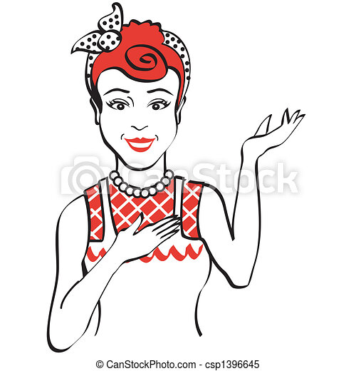 vintage retro 1950s woman vintage or retro 1950s woman clip art rh canstockphoto com clipart of woman exercising clipart of woman in love