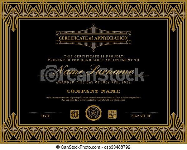 vintage retro art deco frame certificate background template