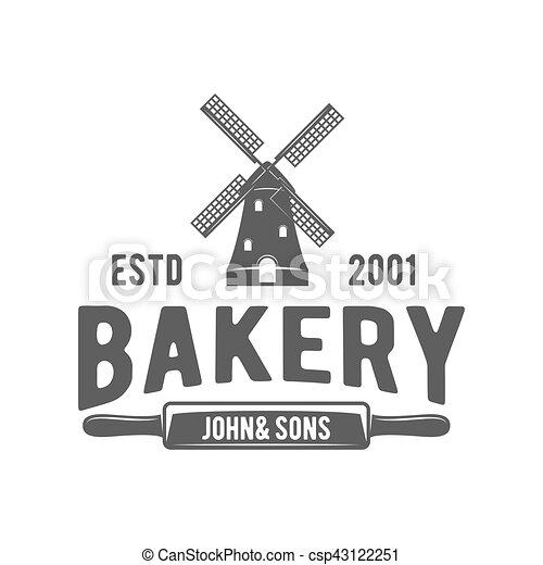 vintage retro bakery logo badge or label - csp43122251