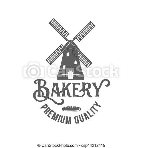 vintage retro bakery logo badge or label - csp44212419