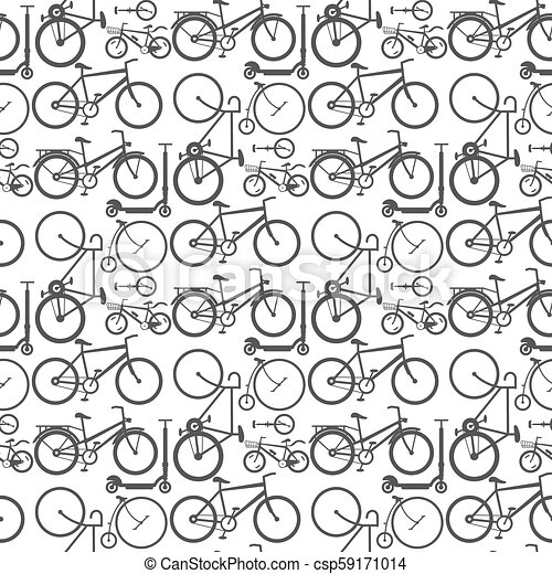 Vintage retro bicycle and style antique sport old fashion grunge flat pedal  ride vector riding bike transport seamless pattern background