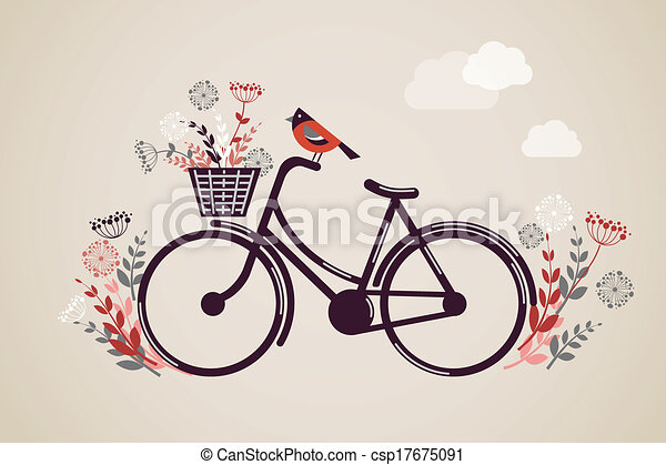 Vintage Retro Bicycle Background - csp17675091