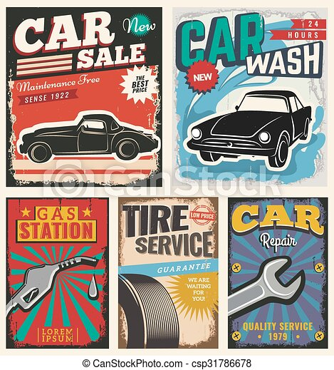 vintage retro car vintage retro stile set of vector cars flyer