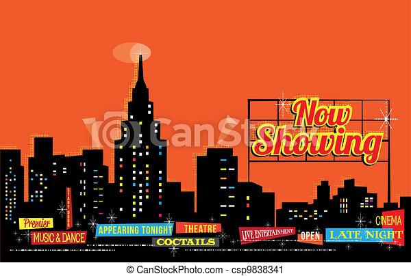 Vintage Retro City Nightlife - csp9838341