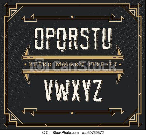 Vintage Retro Font. Handcrafted Decoration Font. - csp50769572