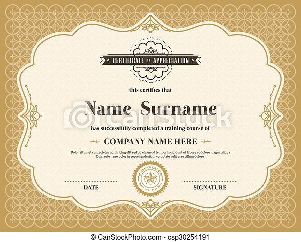 vintage retro frame certificate background template vintage retro