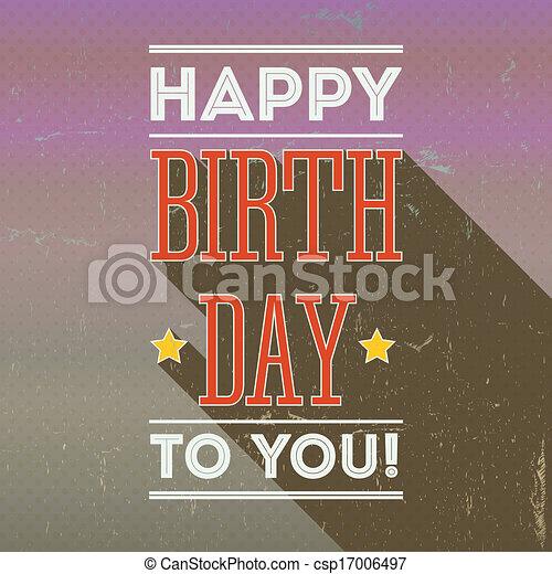 Vintage Retro Happy Birthday Card Fonts Grunge Background