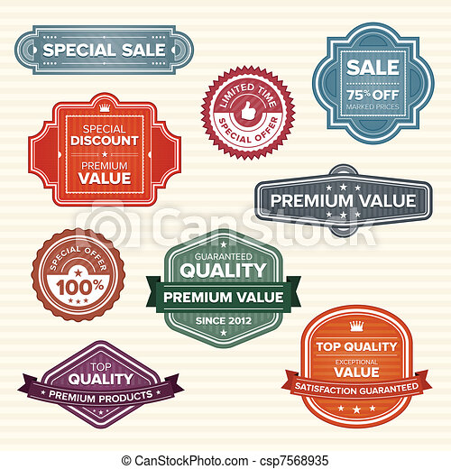 Vintage retro labels in various colors - csp7568935