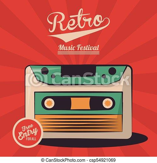 vintage retro music festival cassette invitation - csp54921069