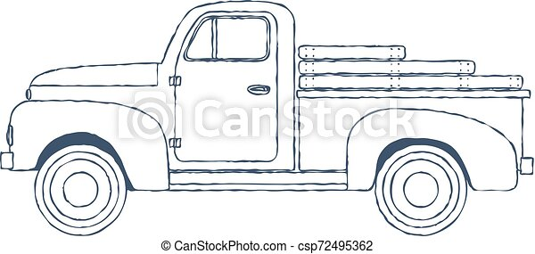 Vintage Retro Pickup Truck isolated on white Background. Vector - csp72495362