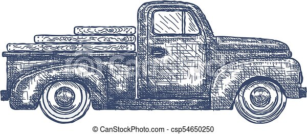 Vintage Retro Pickup Truck isolated on white Background. Vector - csp54650250