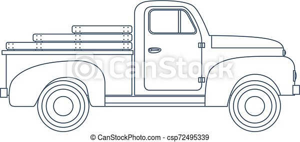 Vintage Retro Pickup Truck isolated on white Background. Vector - csp72495339