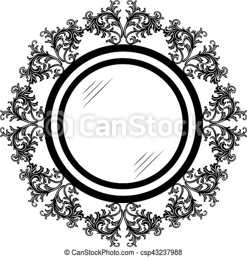 Vintage retro round vector frames. rich carved ornaments. black and ...