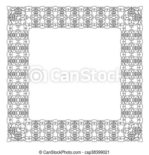 Vintage retro square frame isolated on white background vector ...