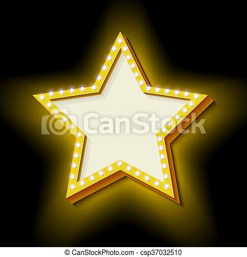 Vintage retro star with lights - csp37032510