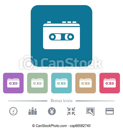 Vintage retro walkman flat icons on color rounded square backgrounds - csp66582740