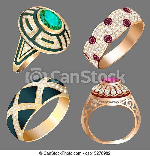 vintage ring set with precious stones - csp15278982