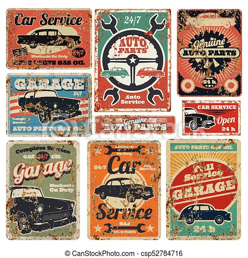 Vintage Road Vehicle Repair Service Garage And Car Mechanic Advertising Vector Metal Signs