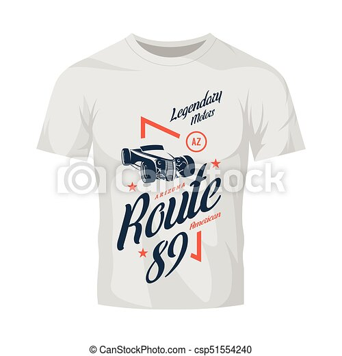vintage roadster car vector logo isolated on white t shirt mock up