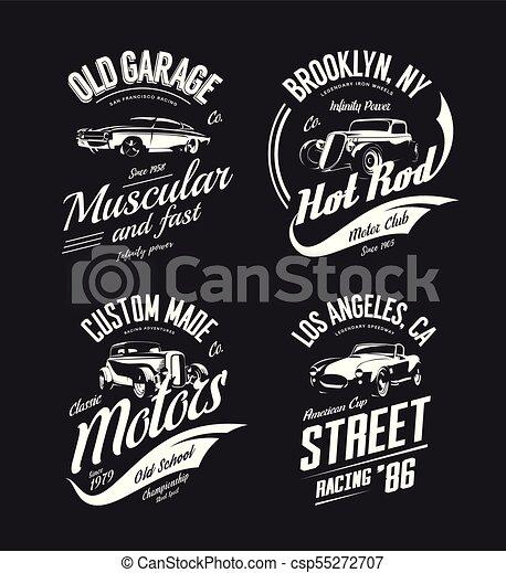 ffa2485ea Vintage roadster, custom hot rod and muscle car vector tee-shirt logo  isolated set. premium quality old sport vehicle logotype t-shirt emblem  illustration. ...