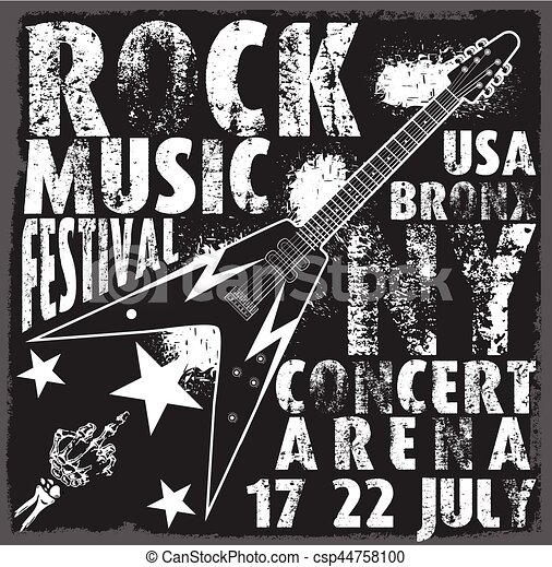 vintage rock and roll typographic for t-shirt; tee design; poster; vector illustration - csp44758100