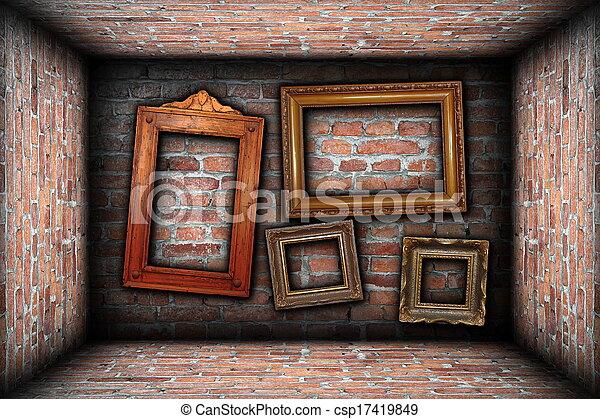 Vintage room interior backdrop with ancient frames. Vintage... stock ...