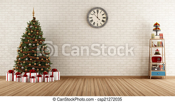 Vintage room with christmas tree - csp21272035