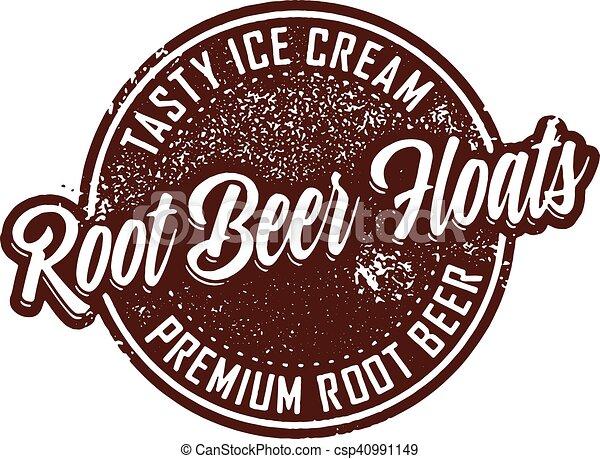 Vintage Root Beer Floats Dessert Stamp - csp40991149