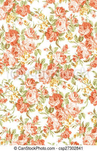 vintage rose on fabric background - csp27302841