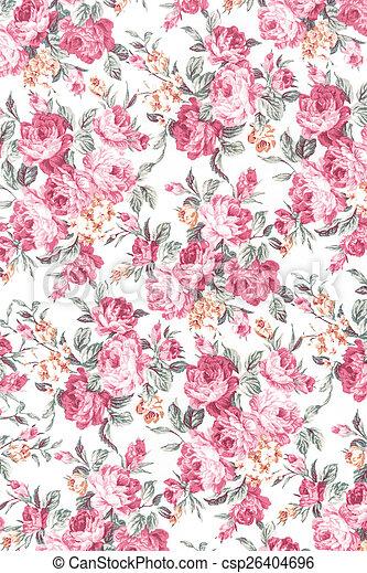 vintage rose on fabric background - csp26404696