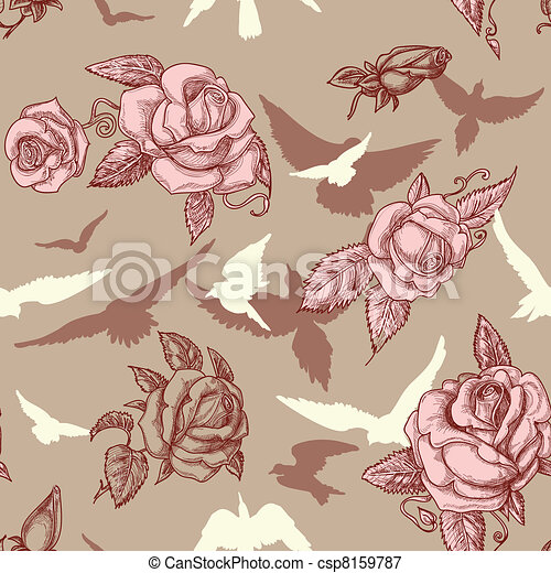Vintage roses and birds seamless pattern - csp8159787