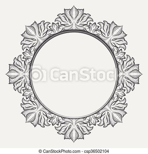 Vintage round baroque frame. Vintage victorian frame. round baroque ...