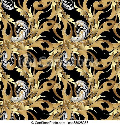 Vintage Royal Seamless Pattern Gold Baroque Wallpaper Floral V