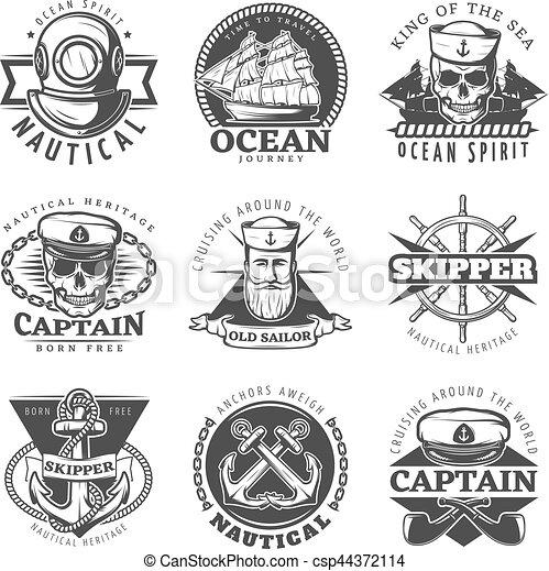 Vintage sailor naval label set. Black vintage sailor naval label set ...