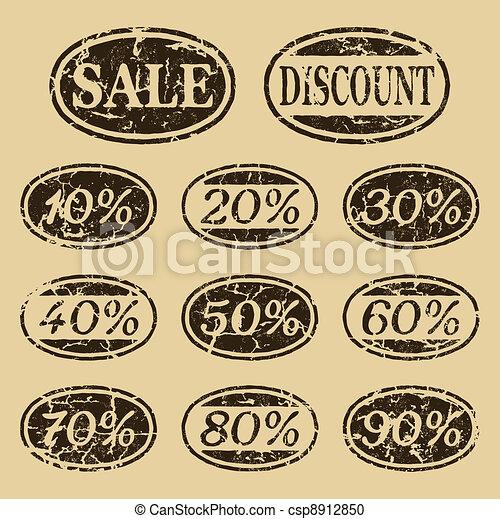Vintage sale icons set - csp8912850
