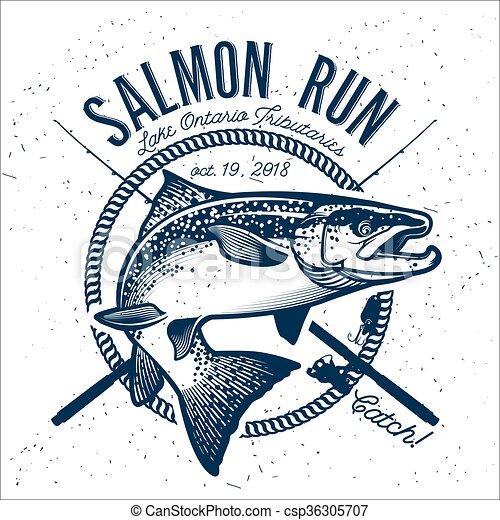 Graphic Design Salmon Swimming