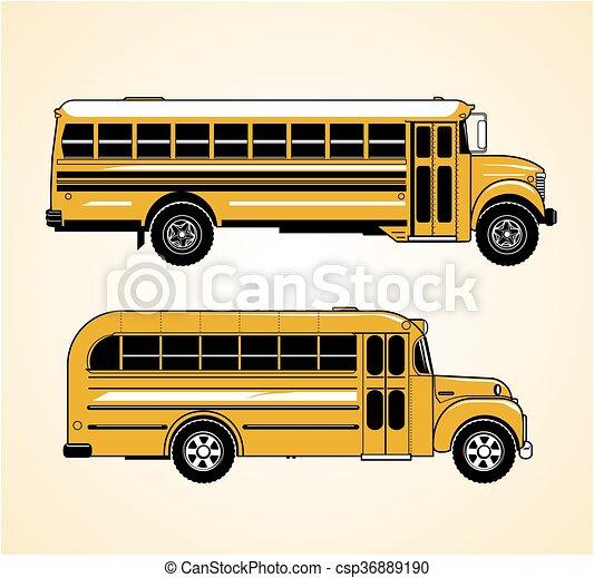 Vintage School Buses - csp36889190