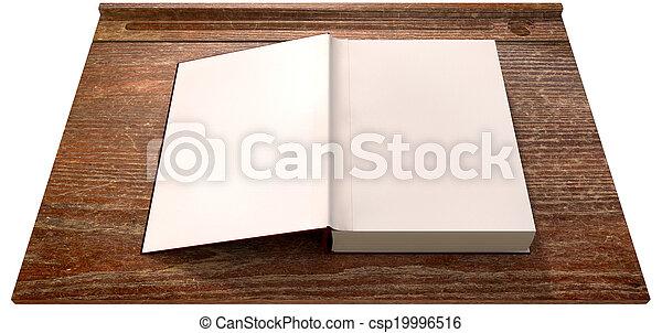 Delicieux Vintage School Desk Top With Open Blank Book   Csp19996516