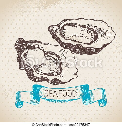 Vintage sea background. Hand drawn sketch seafood - csp29475347
