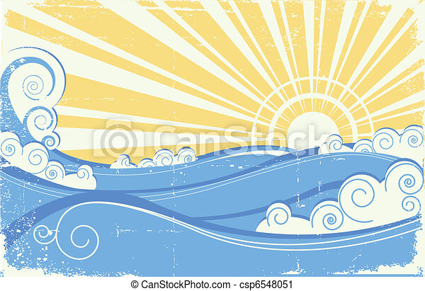 Vintage sea waves. Vector illustration of sea landscape with sun - csp6548051