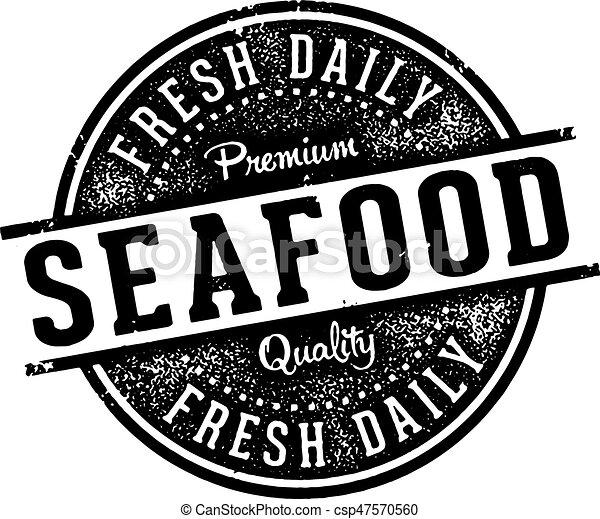 Vintage Seafood Menu Design Stamp - csp47570560