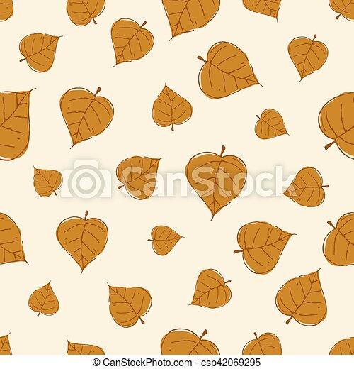 Vintage Seamless Autumn Leaves Pattern. - csp42069295