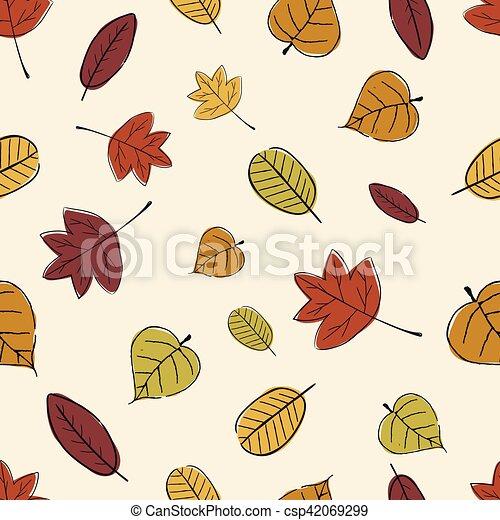 Vintage Seamless Autumn Leaves Pattern. - csp42069299