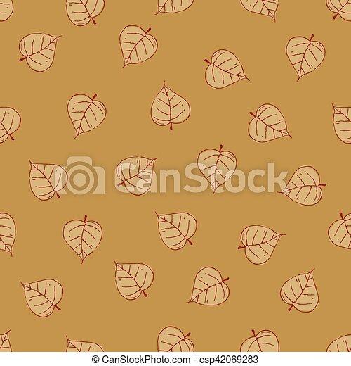 Vintage Seamless Autumn Leaves Pattern. - csp42069283